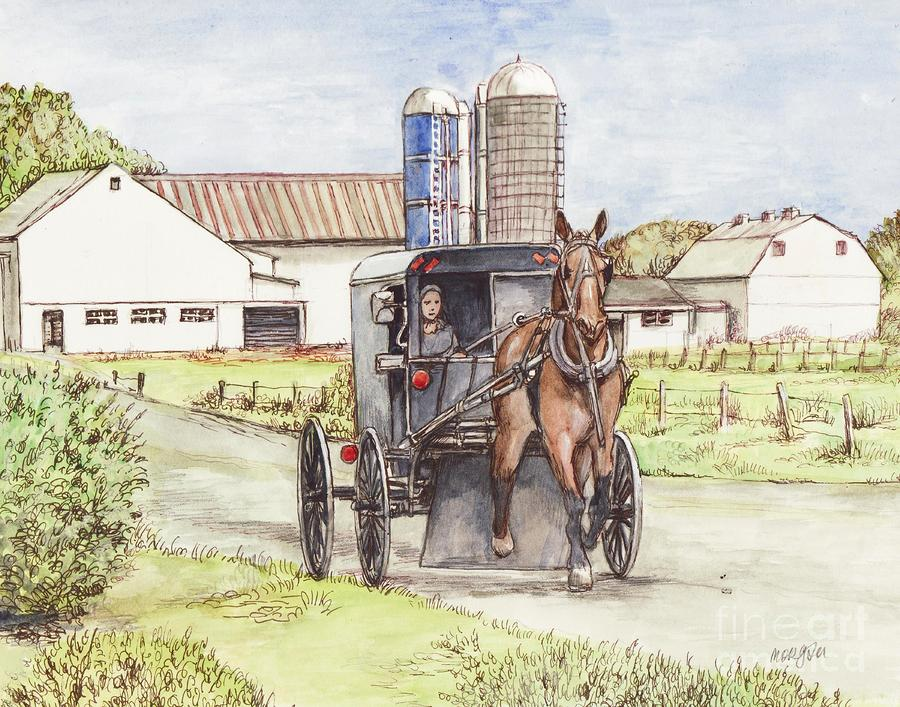Amish Farm Horse And Buggy Painting  - Amish Farm Horse And Buggy Fine Art Print
