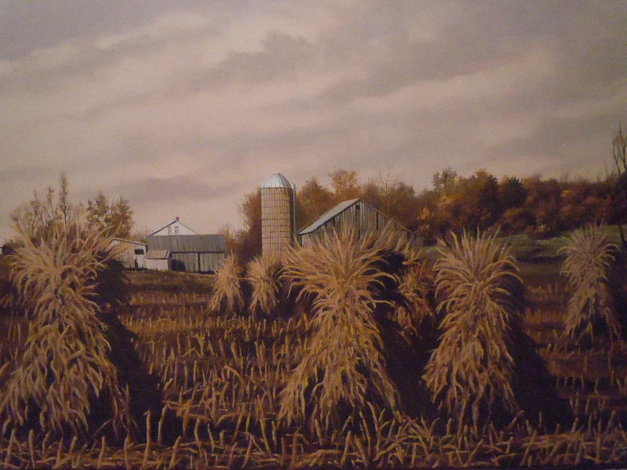Amish Farm In Autumn Painting
