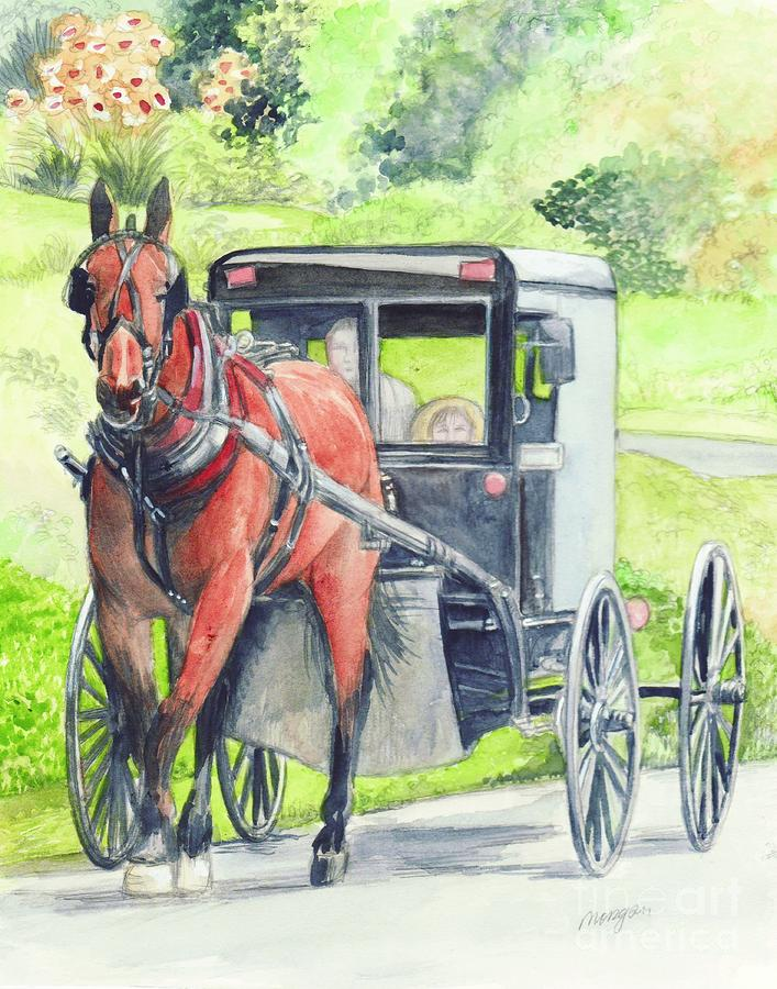 Folk Art Hourse And Buggy Painting