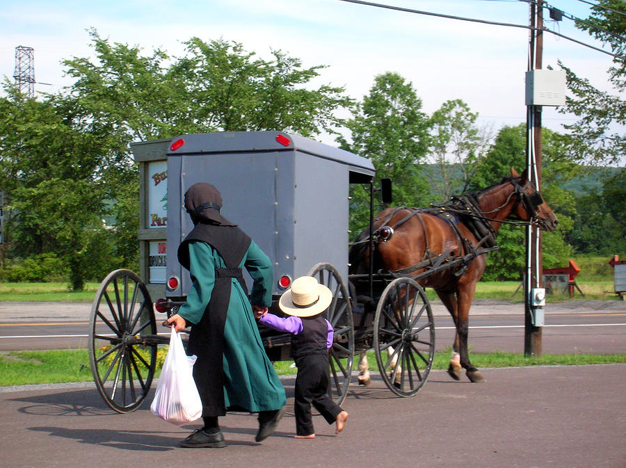 Amish Mother And Son Photograph