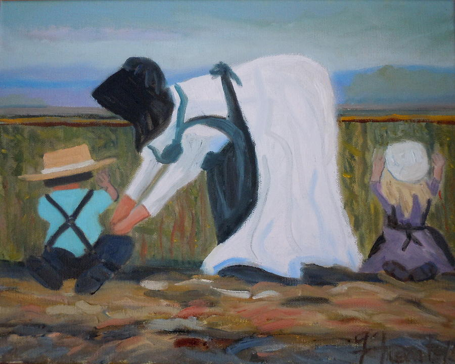 Amish Picking Peas Painting