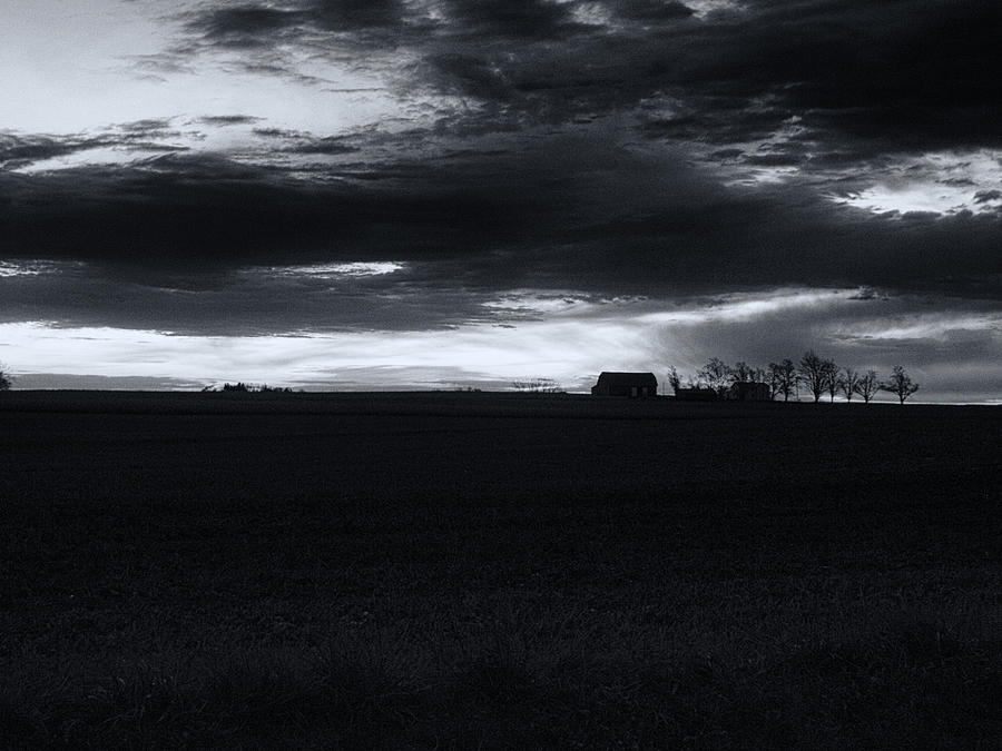 Amish Sunrise Black And White Photograph