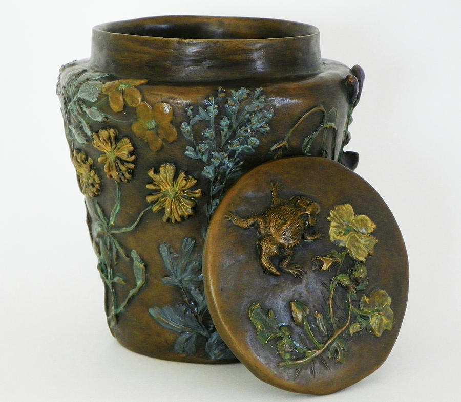 Among The Sagebrush - Bronze Vase With Lid And Painted Patina  Sculpture