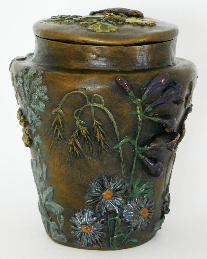 Among The Sagebrush - Bronze Vase With Lid Penstemon View Sculpture