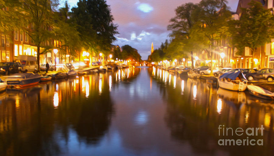 Amsterdam Canal At Night Painting
