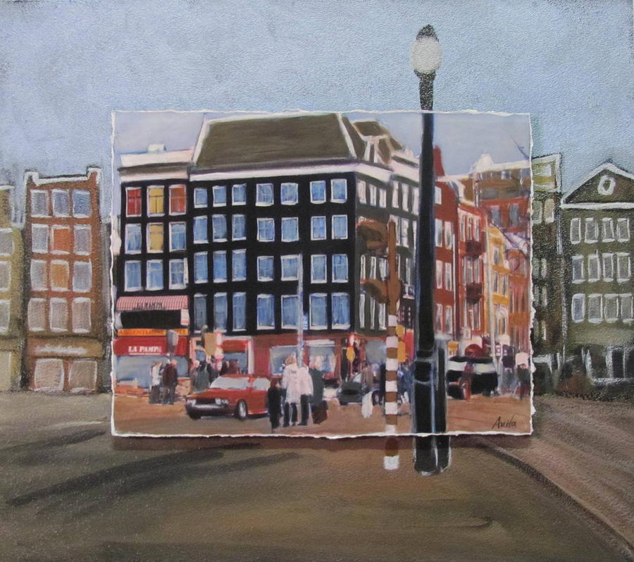 Amsterdam Corner Layered Mixed Media  - Amsterdam Corner Layered Fine Art Print