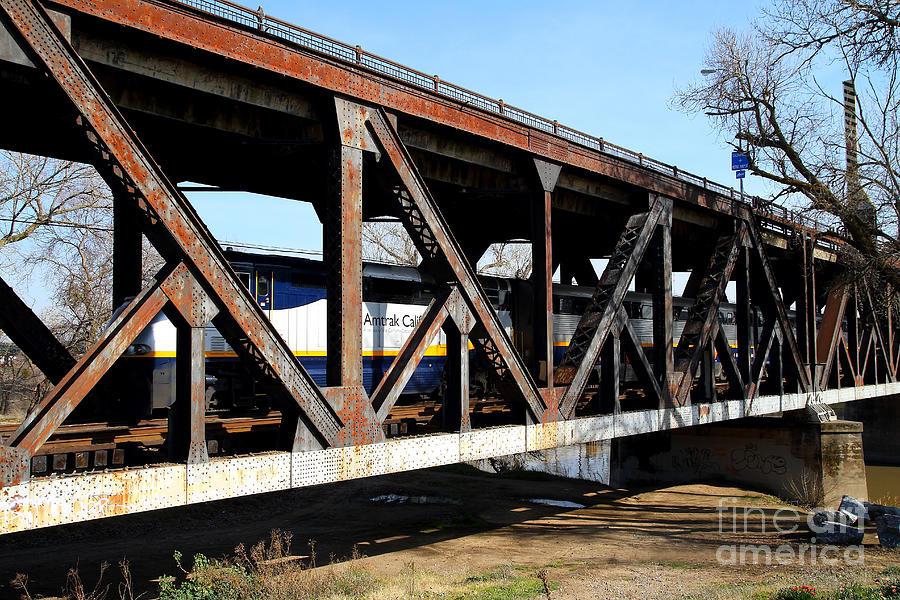 Amtrak California Crossing The Old Sacramento Southern Pacific Train Bridge . 7d11410 Photograph