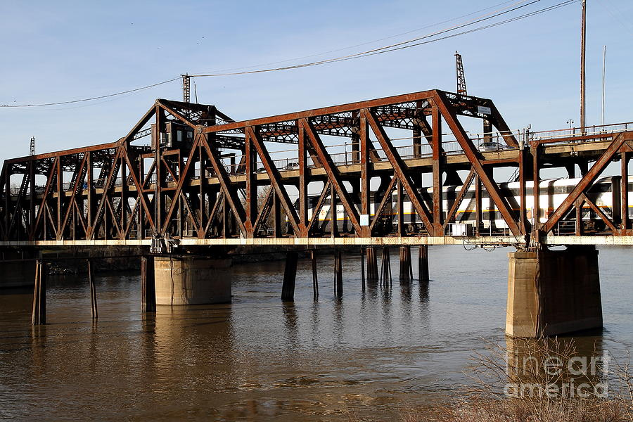 Amtrak California Crossing The Old Sacramento Southern Pacific Train Bridge . 7d11692 Photograph  - Amtrak California Crossing The Old Sacramento Southern Pacific Train Bridge . 7d11692 Fine Art Print
