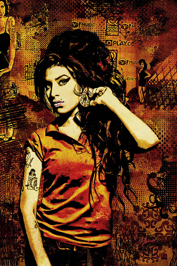 Amy Winehouse 24x36 Mm Reg Digital Art  - Amy Winehouse 24x36 Mm Reg Fine Art Print