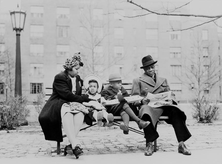 An African American Family On A Park Photograph