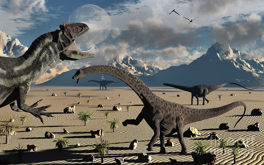 An Allosaurus Confronts A Small Group Digital Art  - An Allosaurus Confronts A Small Group Fine Art Print