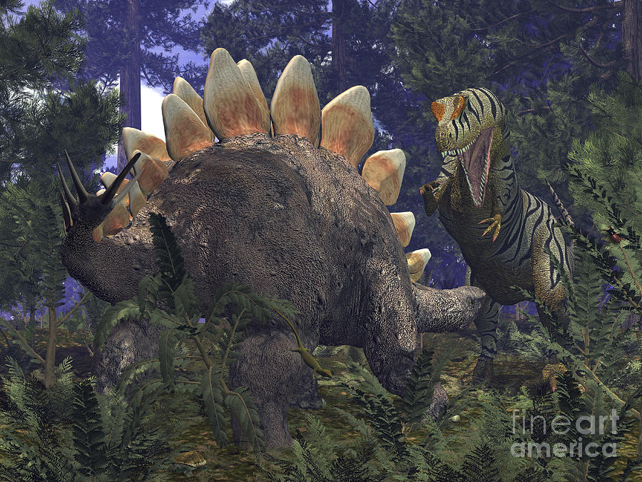 An Allosaurus Stumbles Upon A Grazing Digital Art  - An Allosaurus Stumbles Upon A Grazing Fine Art Print
