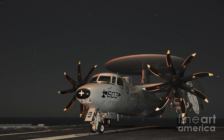 An E-2c Hawkeye Is Chained Photograph