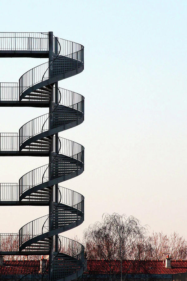 Vertical Photograph - An Escape Stairway by Gerard Hermand