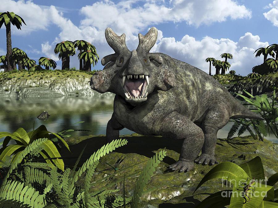 An Estemmenosuchus Mirabilis Stands Digital Art