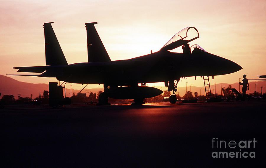 An F-15c Eagle Aircraft Silhouetted Photograph