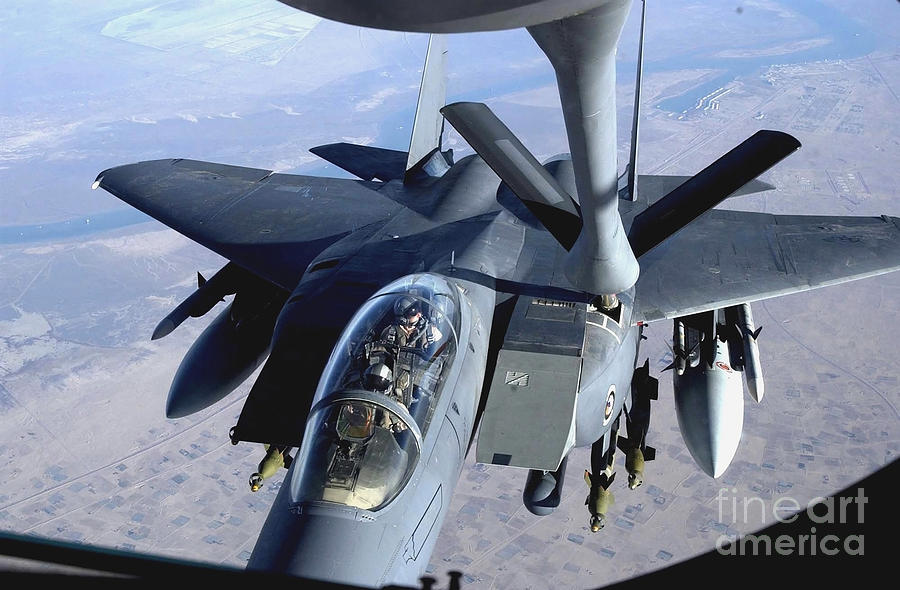 An F-15e Strike Eagle Refuels Over Iraq Photograph  - An F-15e Strike Eagle Refuels Over Iraq Fine Art Print