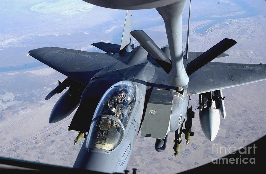 An F-15e Strike Eagle Refuels Over Iraq Photograph