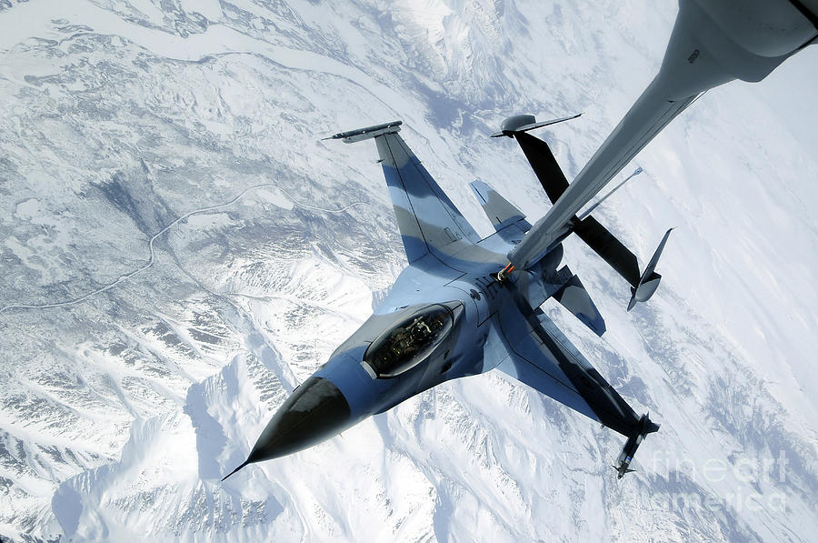 F-16 Photograph - An F-16 Aggressor Sits In Contact by Stocktrek Images