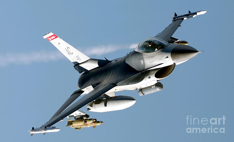 An F-16 Fighting Falcon Flies Over Iraq Photograph  - An F-16 Fighting Falcon Flies Over Iraq Fine Art Print
