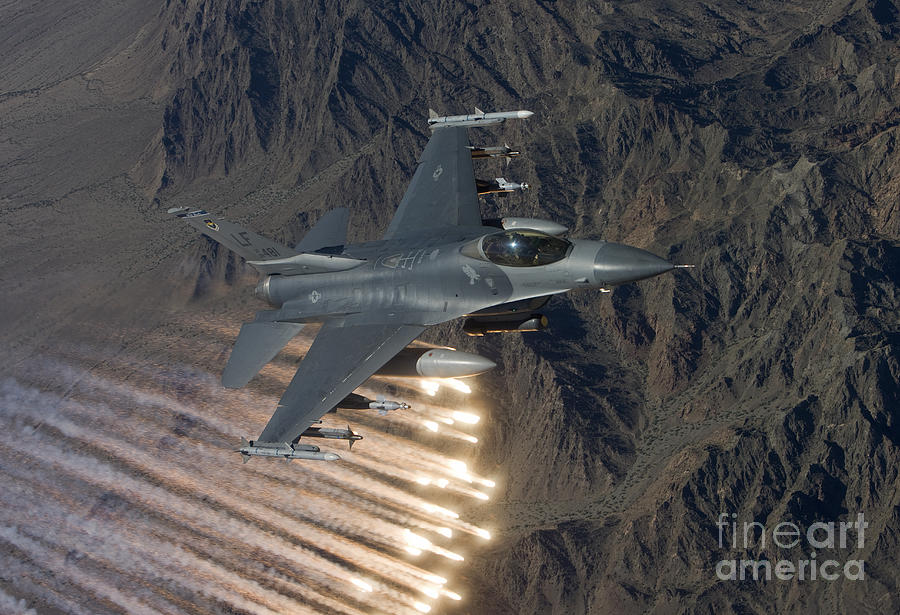 An F-16 Fighting Falcon Releases Flares Photograph  - An F-16 Fighting Falcon Releases Flares Fine Art Print