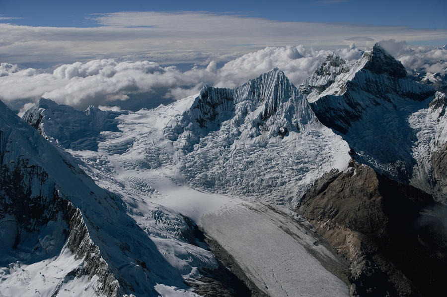 An Icy Ravine Between Glacial Peaks Photograph