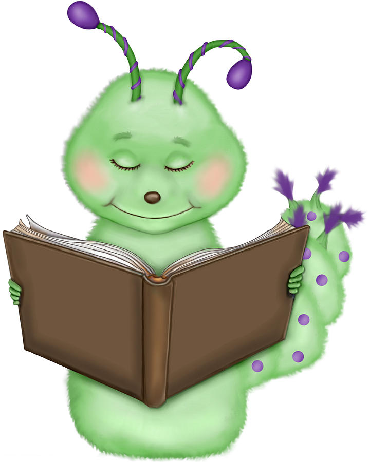 An Illustration Of A Caterpillar Reading A Book Digital Art