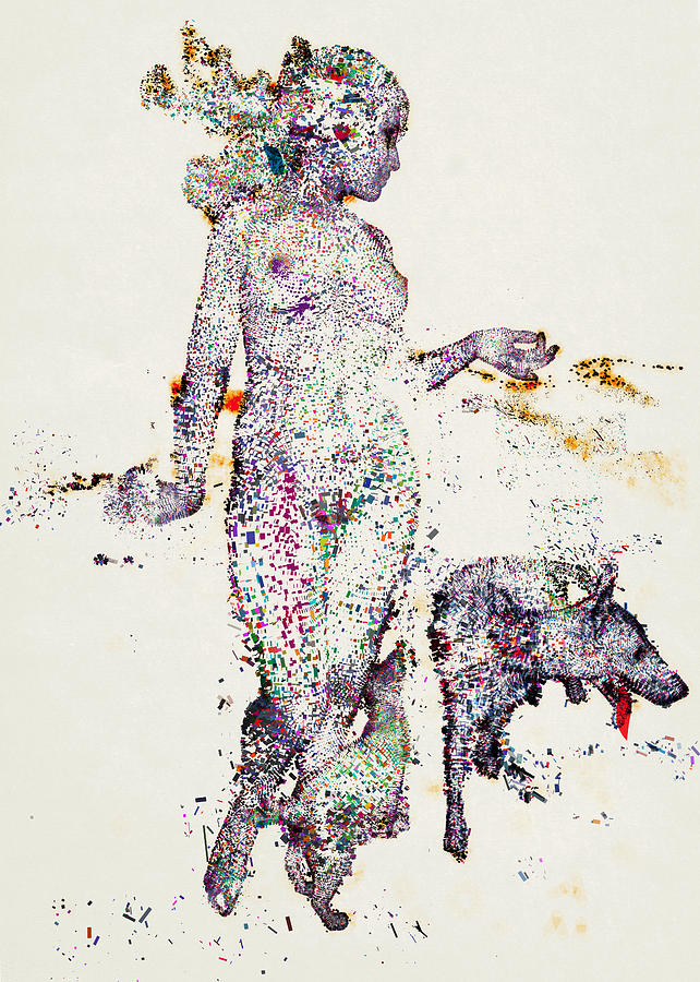 An Illustration Of A Woman And Animals Made Up Of A Collection Of Colorful Fragments Digital Art