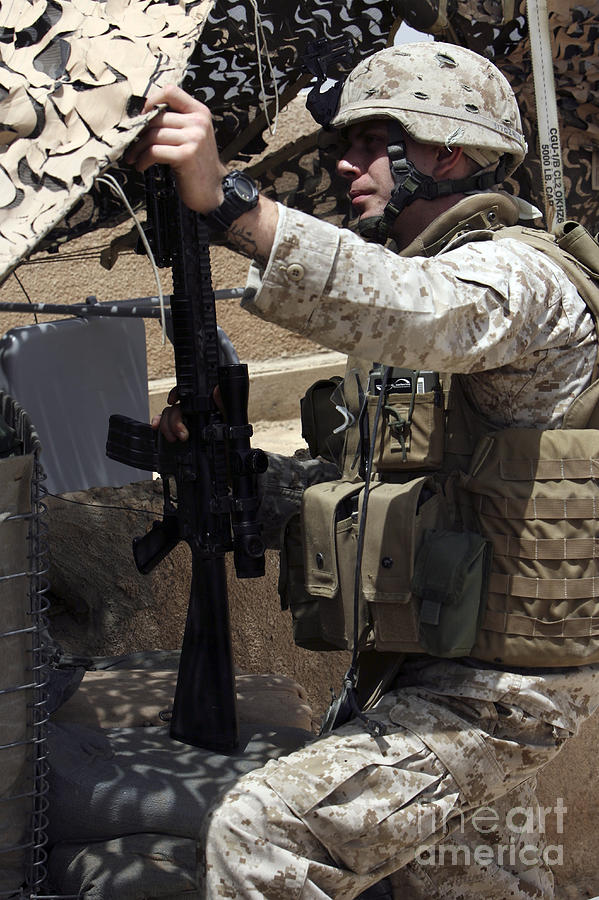 An Infantryman Talks To His Marines Photograph
