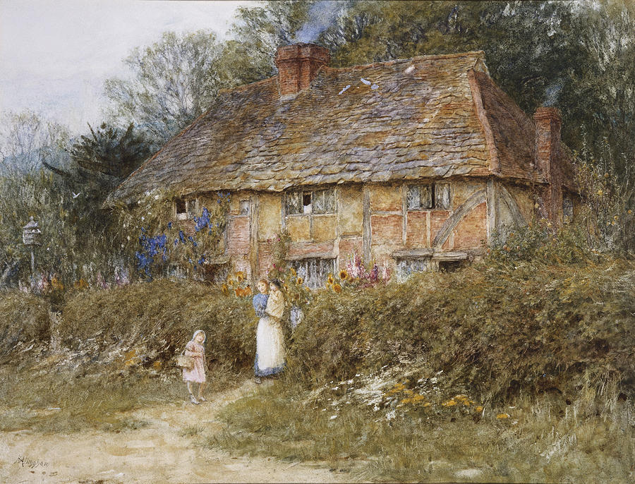 English; Landscape; C19th; C20th; Mother; Child; Children; Baby; Female; Half-timbered; Gate; Path; Victorian Painting - An Old Surrey Cottage by Helen Allingham
