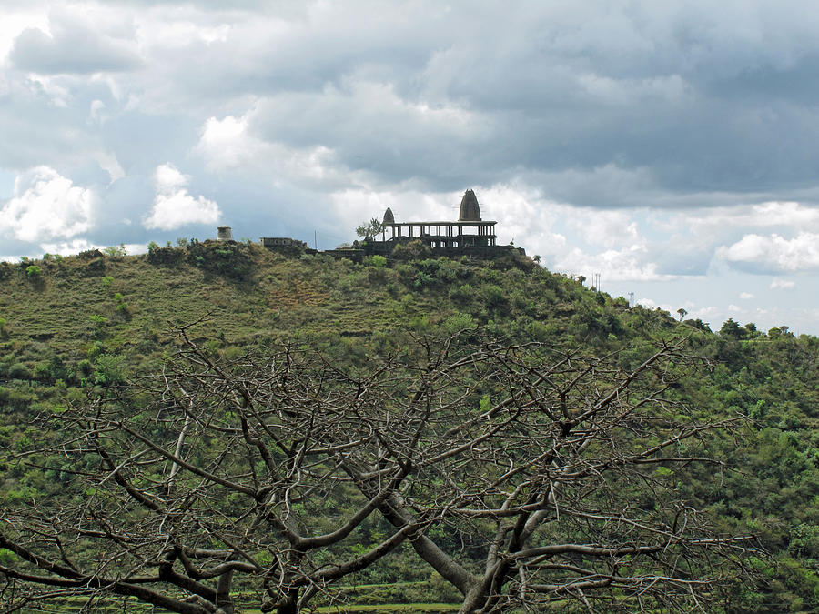 An Old Temple Building On Top Of A Hill With A Lot Of Clouds In The Sky Photograph  - An Old Temple Building On Top Of A Hill With A Lot Of Clouds In The Sky Fine Art Print