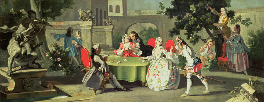 An Ornamental Garden With Elegant Figures Seated Around A Card Table Painting