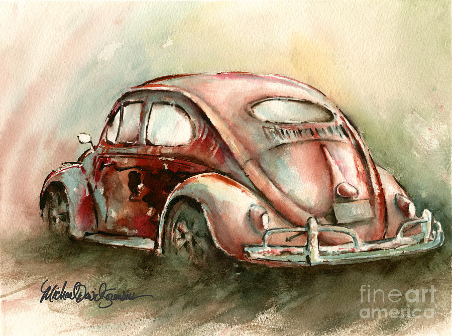 An Oval Window Bug In Deep Red Painting