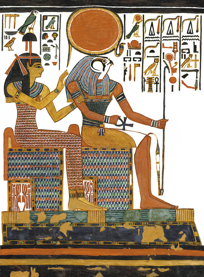 Ancient Egyptian Gods Hathor And Re Painting  - Ancient Egyptian Gods Hathor And Re Fine Art Print