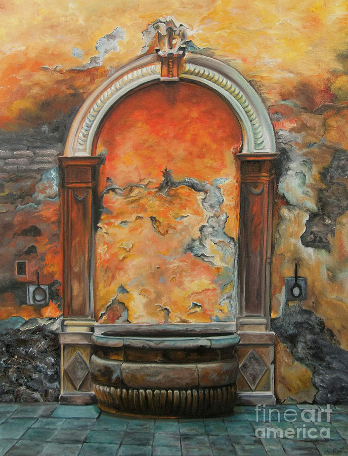 Ancient Italian Fountain Painting  - Ancient Italian Fountain Fine Art Print
