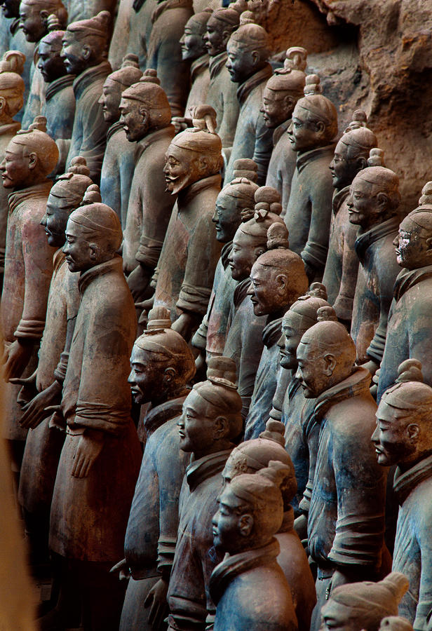 Ancient Soldier Statues Stand At Front Photograph