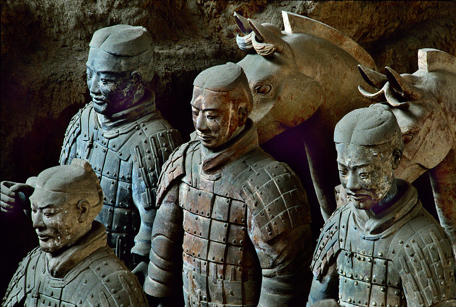 Ancient Terracotta Soldiers Lead Horses Photograph