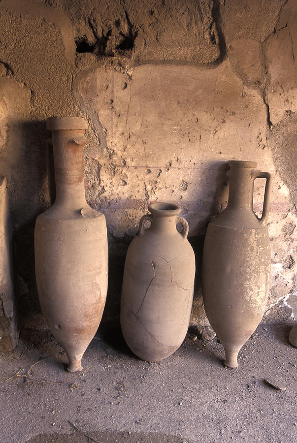Ancient Wine Clay Vases  In A Wine Photograph