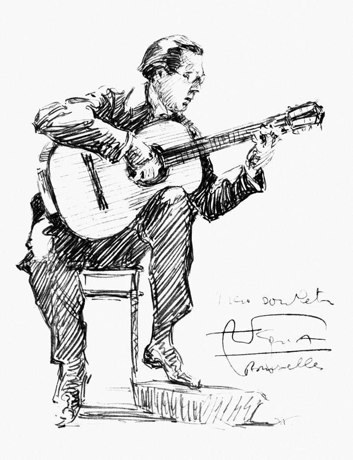 Andres Segovia Drawing