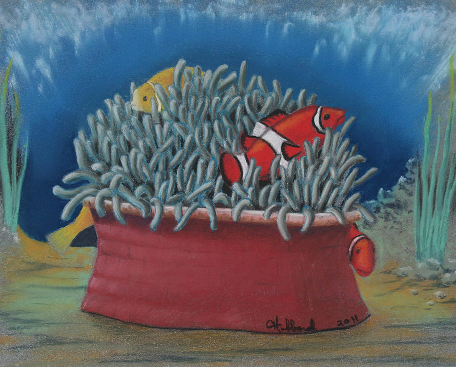 Anemone And Clownfish Painting  - Anemone And Clownfish Fine Art Print