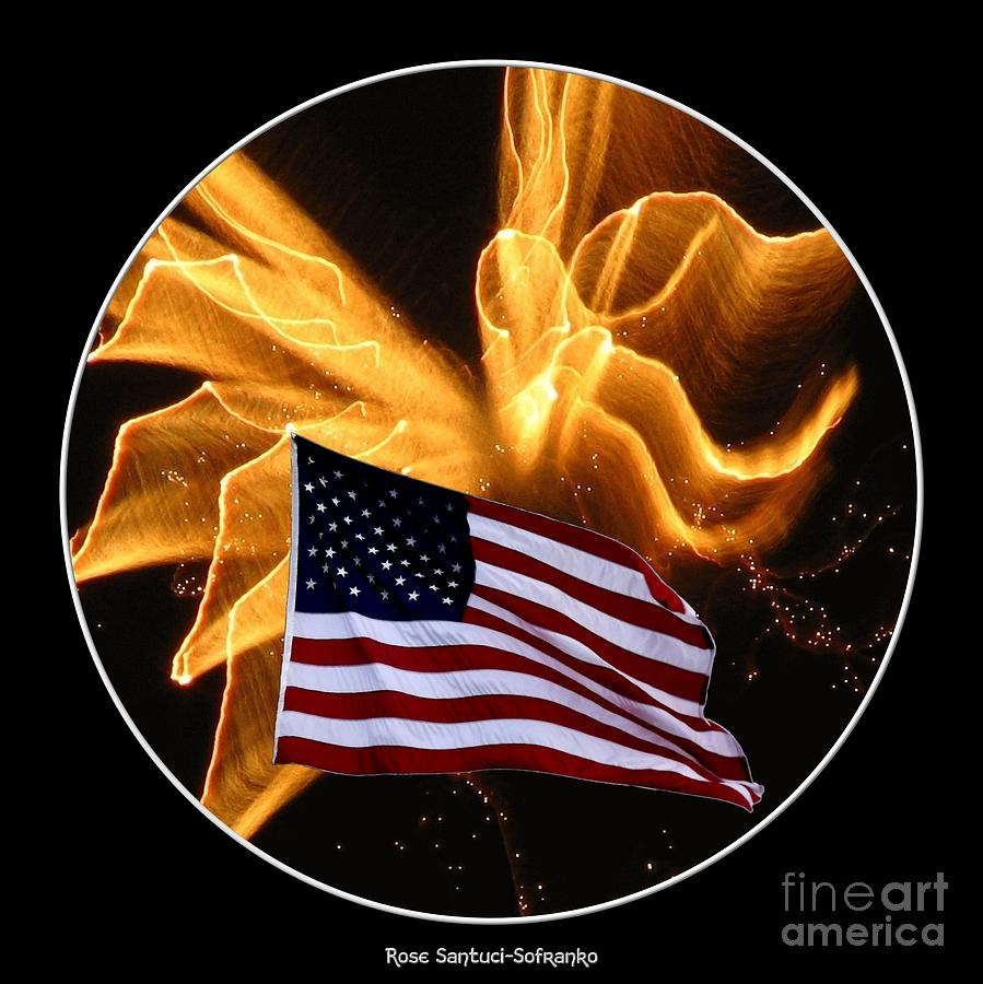 Angel Fireworks And American Flag Photograph
