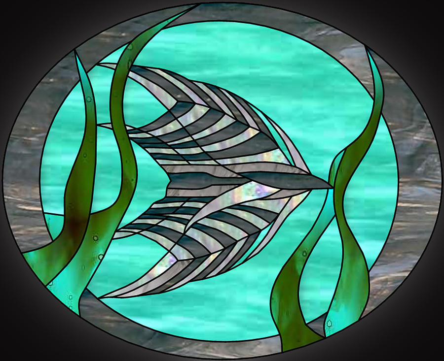 Angel fish stained glass by don quackenbush for Stained glass fish