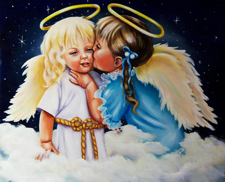 Angel Kiss Painting  - Angel Kiss Fine Art Print