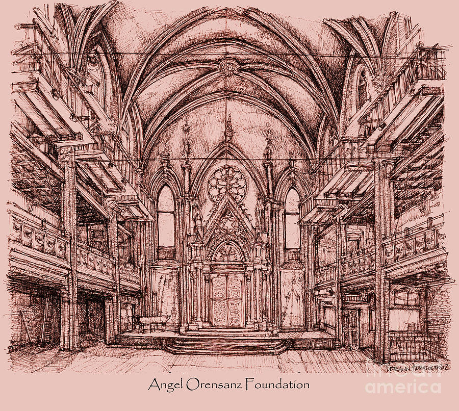 Angel Orensanz In Dark Pink Drawing