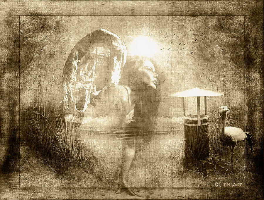 Angel Spirit Sepia Digital Art  - Angel Spirit Sepia Fine Art Print