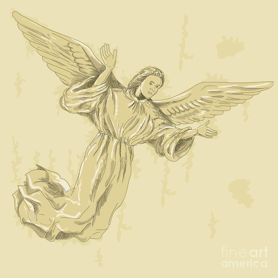 Angel With Arms Spread Digital Art