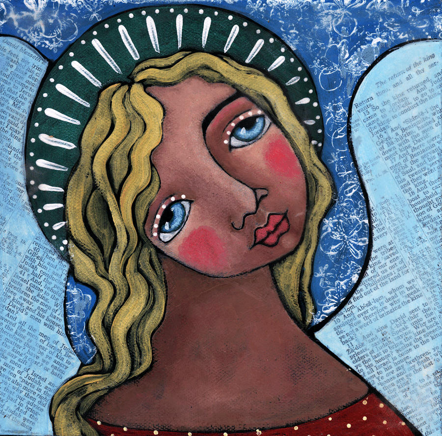 Angel With Green Halo Painting
