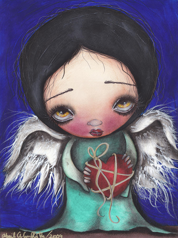 Angel With Heart Painting  - Angel With Heart Fine Art Print