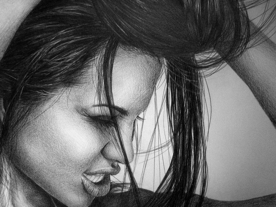 Angelina Jolie Drawing  - Angelina Jolie Fine Art Print
