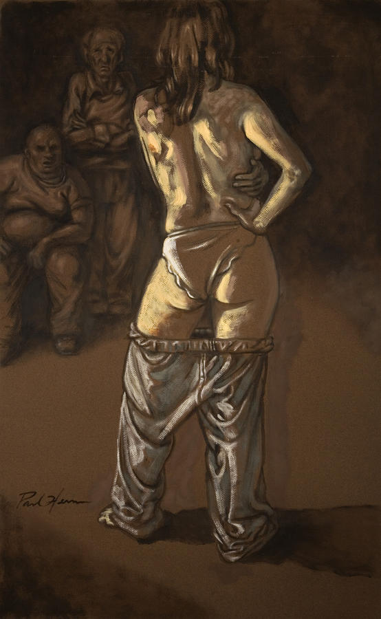 Angelique With Men Painting  - Angelique With Men Fine Art Print